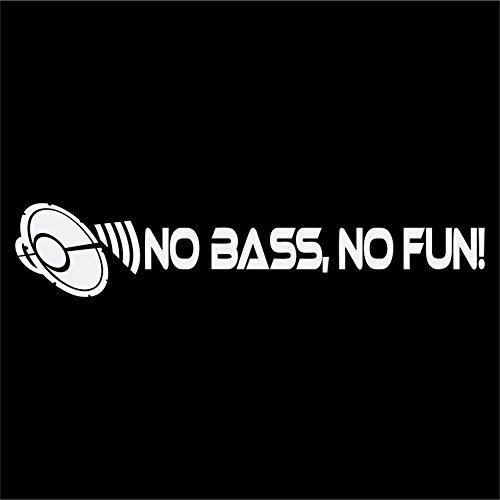 No Bass, No Fun! Aufkleber Subwoofer Shocker DUB JDM Autoaufkleber (WEISS) (Auto-subwoofer-aufkleber)
