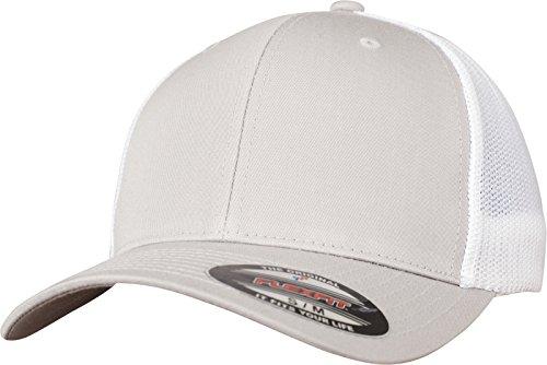 Flexfit Mesh Trucker Cap 2-Tone - Unisex Baseballcap für Damen und Herren, Farbe Silver/White, L/XL -