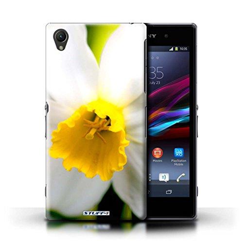 Kobalt® Imprimé Etui / Coque pour Sony Xperia Z1 / Clair Rose conception / Série floral Fleurs Fleur blanche