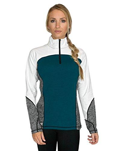 WoolX Damen Pullover Rory Quarter Zip Sweater aus Merinowolle, Damen, Rory 1/4 Zip, Midnight Teal Mélange, Small - Quarter-zip Fleece Pullover