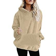 Mujer Caliente y Esponjoso Tops Chaqueta Suéter Abrigo Jersey Mujer Otoño-Invierno Talla Grande Hoodie