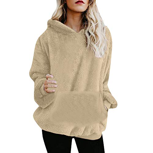 Jaminy Damen Mantel Langarm Outwear Tasche Winterjacke Mode Kurz Coat Outwear Winter Warm Oberteil Tops Coat Basic Langarm Windbreaker S-3XL (Khaki, M)