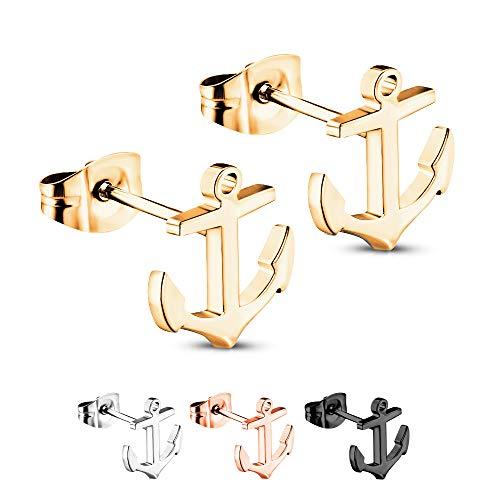Treuheld® | Goldene Ohrstecker mit ANKERN - 925 Sterling Silber - Damen & Herren Ohrringe - glänzende Ohrstecker - Ohrschmuck zum Stecken - Ohrschmuck auch für Kinder - 10 x 11 mm Gold