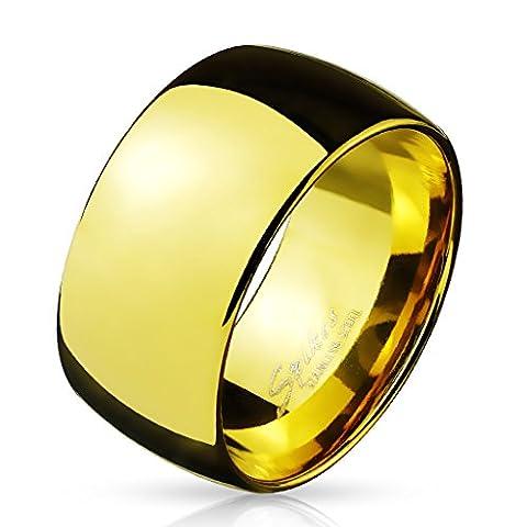 Paula & Fritz® BREITER Dome 10mm breit Damen-ring Verlobungs-ring Freundschaftsring Herrenring Partnerring Edelstahl Chirurgenstahl 316L gold 63 (20)