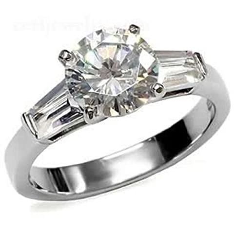 Yourjewellerybox Tk005Pb 3Ct Womens Solitaire & Baguette Simulated Diamond Ring Not Tarnish Size R