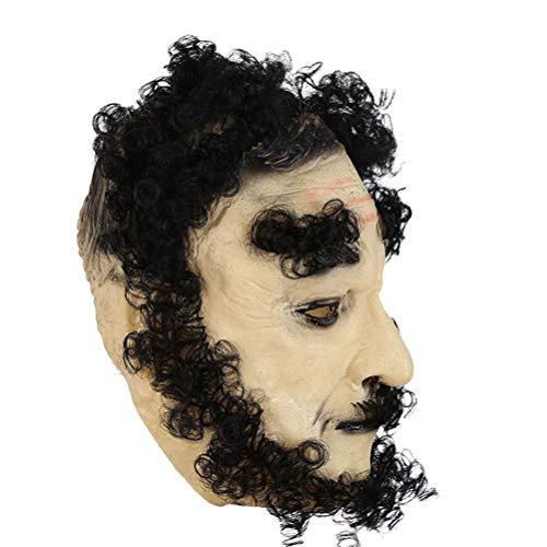 Amosfun Halloween Cosplay Kostüm Prop Alter Mann Maske Gruselige Maske Halloween Cosplay Performance Zubehör (Schwarzes Haar)