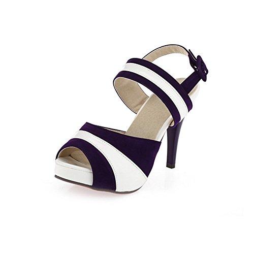 Adee Damen Peep-Toe-sortiert Farbe Leder Sandalen Darkpurple