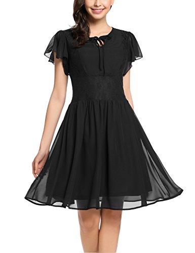 Zeagoo Damen Chiffon Kleid Sommerkleid Elegant Partykleid Hochzeit Festliches Kleid A Linie Kurzarm Knielang Schwarz(B) XL (Beerdigung Kleidung)