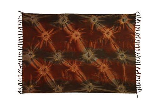 Sarong Pareo Wickelrock Strandtuch Tuch Wickeltuch Handtuch Bunte Sommer Muster Set Gratis Schnalle Schließe (Batik Braun Rot BA1) (Batik-rock Set)