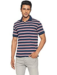 Peter England Men's Striped Regular Fit Synthetic Polo