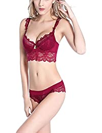 701bff3fab Bluewhalebaby Sexy Lingerie Push Up Padded Embroidered Lace Bra and Panty  Set(Suspender   Stockings