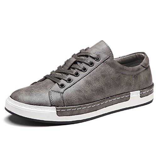 Zapatos de Cordones para Hombre Conducción Zapatillas Cuero Casual Shoes Attività Commerciale Sneakers Gris 42