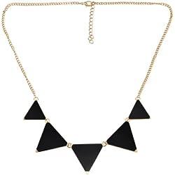 SODIAL(R) Declaracion de Nuevo vintage de la moda Triangulos Collar geometrico - Negro