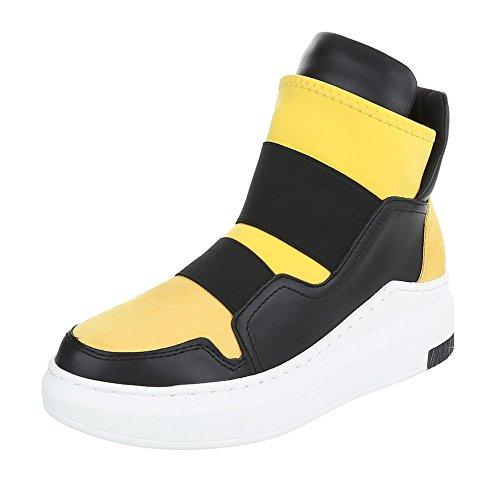 Ital-Design - Pantofole a Stivaletto Donna Giallo/Nero