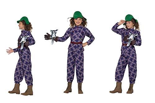 Fancy Dress World David Wallis Deluxe Awful Auntie Kostüm für Kinder, Violett, Oberteil, Hose, Hut, Handschuh und Eule, ideal für Weltbuch/Schulveranstaltungen