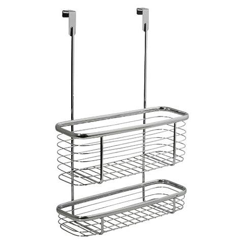 InterDesign Axis Over the Cabinet Kitchen Storage Organizer Basket, Chrome