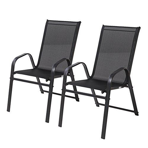 Patio Lounge Möbel (Grand Patio Stapelbarer Outdoor Stahlrahmen Lounge Arm Stuhl Sessel, Set von 2, Schwarz)