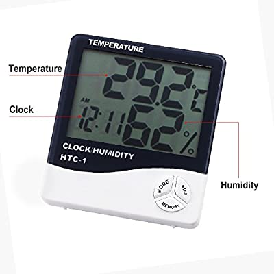 Anpro Digital Indoor Temperature Humidity Meter with Alarm Clock, LCD Hygrometer Thermometer Monitor for Home, Office