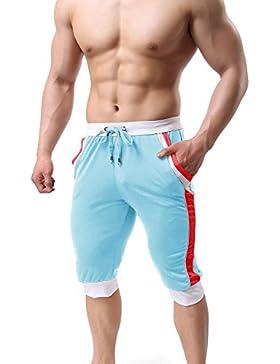 KEFITEVD Pantalones cortos transpirables de malla con bolsillos, hombre, KEF-31-Light Blue-XL, azul claro, UK...
