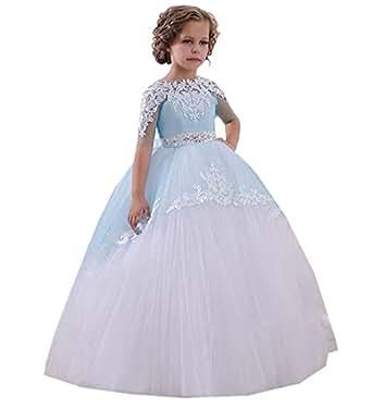 c8f1da3fe2229 Image indisponible. Image non disponible pour la couleur   KekeHouse  Dentelle Perlée Robe Longue de Cérémonie Fille Enfant Mariage Sans manches  Arc