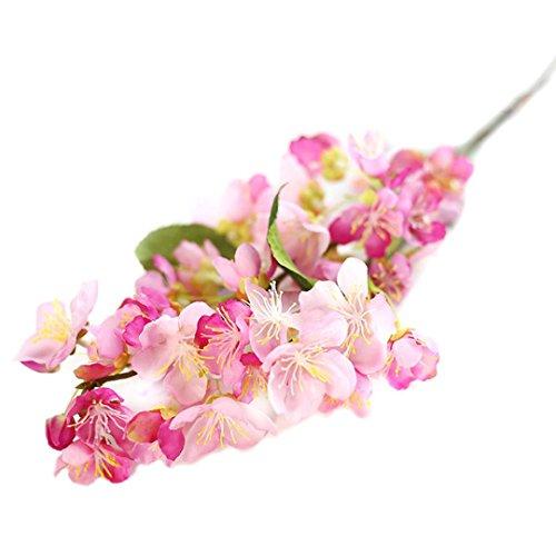 Flores Artificiales,Xinan Flores de Cerezo Decoración para Hogar Boda (Rosa Caliente)