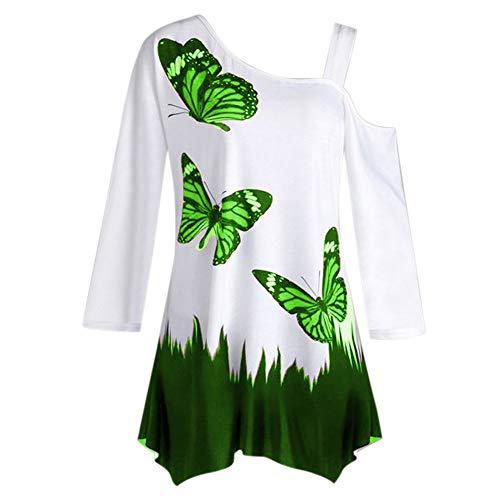 BHYDRY Damen Butterfly Print Eine Schulter Langarm Tunika T-Shirt Lose Bluse ()