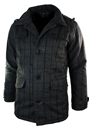 Hommes Vérifiez Gris Laine Blend cours de manteau Smart Casual hiver chaud Gris