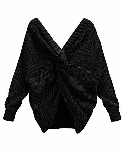 Schwarz Lange Ärmel Pullover Pullover (BONESUN Damen Sexy Oversized V-Ausschnitt Lange Ärmel Knit Sweater Casual Stricken Pullover Schwarz DE 34)