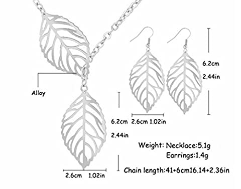 Buy any 2 & get 1 FREE! Silver Double Leaf Necklace & Earrings SET Unique Fashion Jewellery Silver Doube Leaf Pendant Necklace Diamond Jewellery Vintage Hot Fashion Trend Ladies Jewelry Cube Pandora Box Style Silver Pendant Necklace Diamond Jewellery Vintage Hot Fashion Trend Ladies Jewelry (Silver Leaf Necklace & Earrings