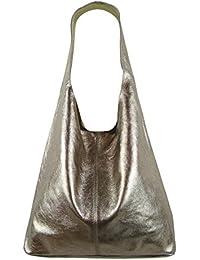 ca0ec661ca919 Freyday Damen Ledertasche Shopper Wildleder Handtasche Schultertasche  Beuteltasche Metallic look