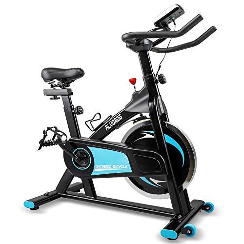 alvorog Bicicleta Estática de Spinning Profesional, Bicicleta de Ejercicios Fitness de interior con Asiento ajustable e monitor LCD Bicicleta de Entrenamiento con accionamiento por correa,hasta 150 kg