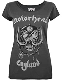 Official Amplified Motorhead England Womens Charcoal Scoop Neck T-Shirt-XSmall