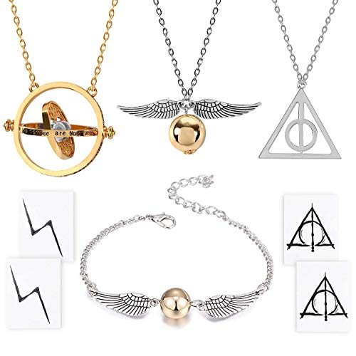 Collar de 4 Piezas Pulsera con The Deathly Hallows Golden Snitch Time Turner Cadena Colgante Collar para los admiradores inspirados Regalos Colecciones