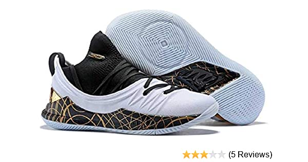 ed9f51ae78e UnderArmour Stephen Curry 5 Low White Gold Basketball Shoes for Men (10  UK)  Buy Online at Low Prices in India - Amazon.in