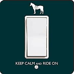 Rikki Knight Keep Calm and Ride on Single Rocker Light Switch Plate, Green
