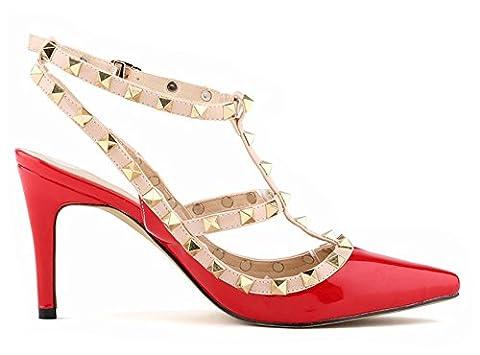 Minetom Fête Party Été Boucle Chaussures Rivet Épissure Stiletto Pumps High Heels Talons Hauts Femme Escarpins Pointed Toe Casual Filles Rouge EU 38