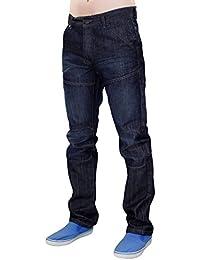 Nouveaux hommes grandes tailles Crosshatch Denim enduit la jambe droite normal Fit pantalon Jean