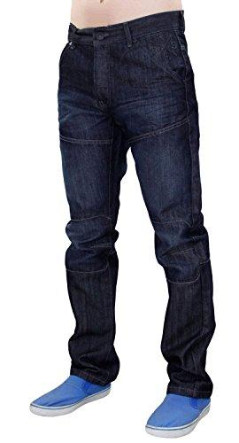 Nouveaux hommes grandes tailles Crosshatch Denim enduit la jambe droite normal Fit pantalon Jean Dark Wash