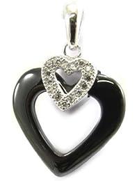 Les Trésors De Lily [L3925] - Pendentif Argent 'Love' noir blanc (céramique)