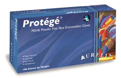 Supermax 93998P Aurelia Protégé Nitrile Gloves, Powder Free, Large, Blue (Pack of 1000)