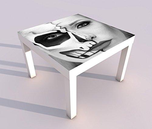 Design - Tisch mit UV Druck 55x55cm schwarz weiß Monster Gesicht Horror Maske halb Frau Spieltisch Lack Tische Bild Bilder Kinderzimmer Möbel 18A1564, Tisch 1:55x55cm (Frau, Das Gesicht Halb-maske)
