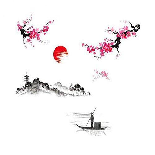 bdrsjdsb Chinesischen Stil Floral Boot Malerei Vinyl Wandkunst Aufkleber Grafik Home Wohnzimmer Hotel-boot