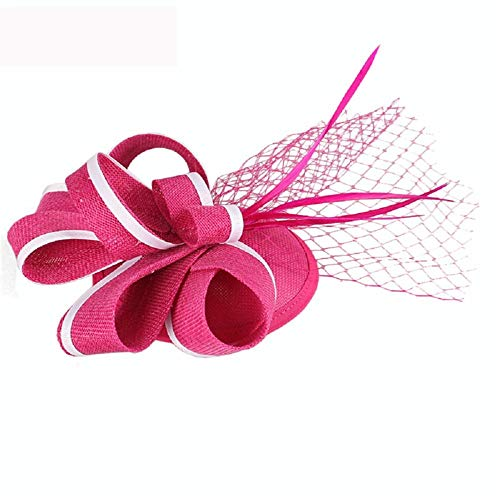 SweetStyle Zylinderhut Blue Bride Hat Top Haarschmuck Jockey Club Headwear Hut, Pink