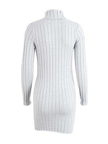 simplee donne occasionale dolcevita a manica lunga slim pullover vestito jumper Grigio
