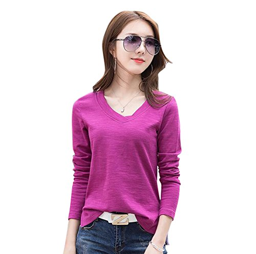 Winfon Femme Tee Shirt Femme Manches Longues Coton Col V Chic Top T-Shirt Blouse Violet