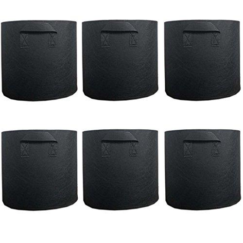 Ancdream Lot de 6 (10 Gallon ) Noir Tissu Bassin Récipient Rond Végétale Potted Sac Plantes Grandir Sacs Plantation Pots Pochette Aération