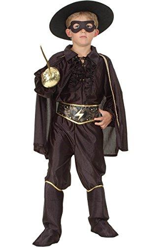 Kinder Zorro Kostüm - KULTFAKTOR GmbH Maskierter Rächer Kinderkostüm schwarz-Gold 134/140 (10-12 Jahre)