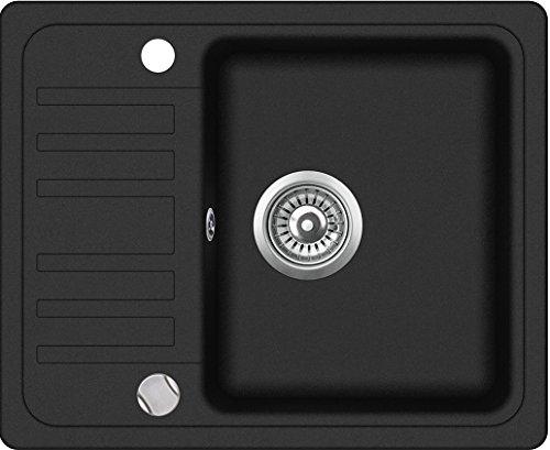Negra Cocina Fregadero empotrable Reversible con escurridor 57,5cm x 46cm (CS001)