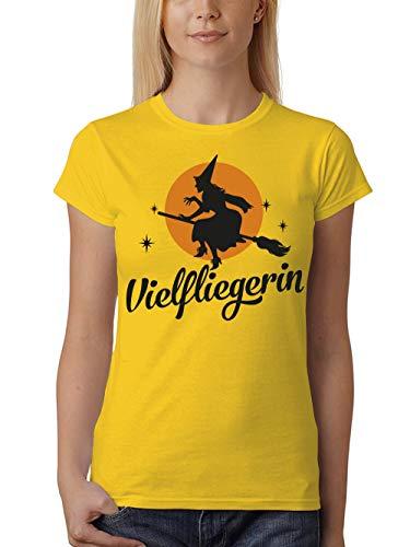 clothinx Damen T-Shirt Unisex Halloween Hexe Vielfliegerin Gelb Gr. 3XL