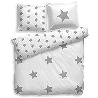 Juego de ropa de cama de estrellas F2F, 100 % algodón, blanco gris, 135 x 200 cm + 80 x 80 cm